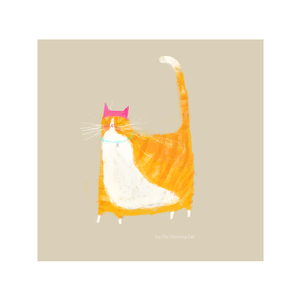 Pink Hat Cat Print -  Orange Tabby Cat Version