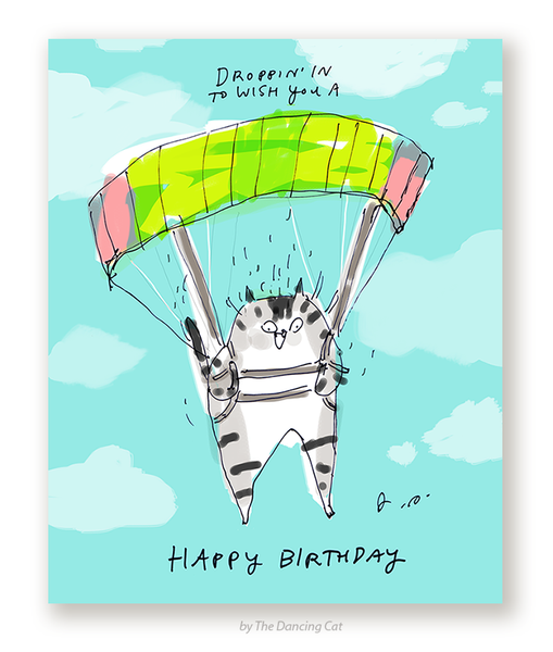 Droppin in to Wish You a Happy Birthday- Parachute Cat Card