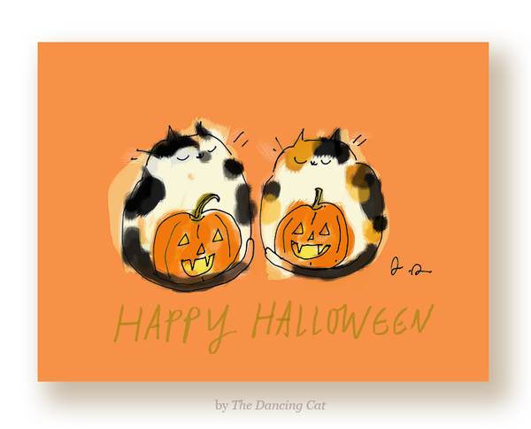 Happy Halloween Cat Card - Pumpkie Cats