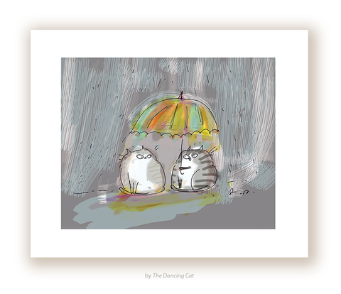 Rainy Day Friend - Cat Print