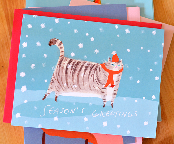 Season's Greetings - Red Scarf Cat Card