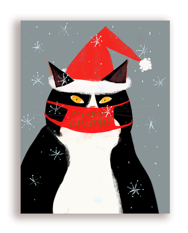 Merry Christmas Cat Mask Card - Santa Hat Version