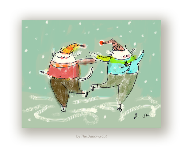 The Skaters - Holiday Cat Card