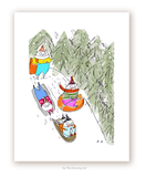 Sledding Party - Cat Print