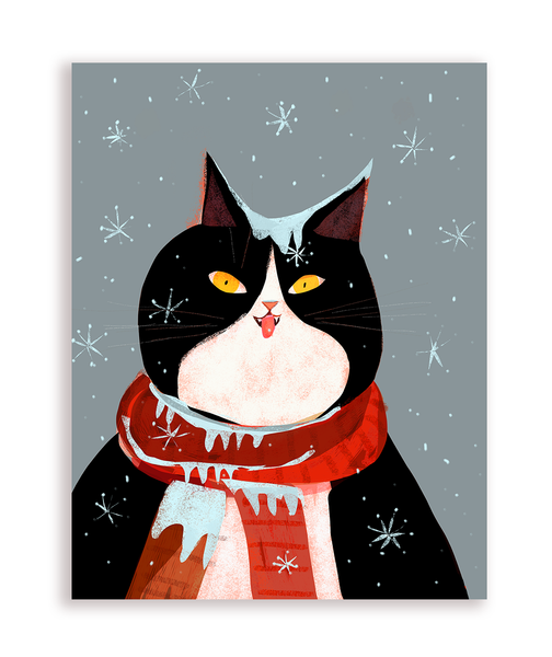 Snow Cat- Holiday Card