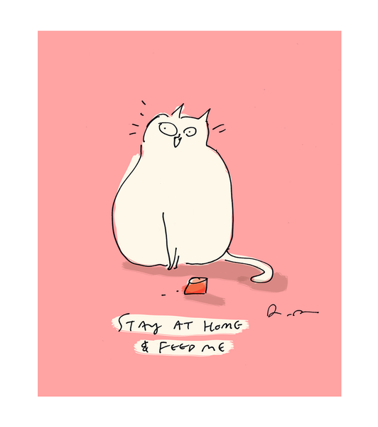 Stay At Home and Feed Me Cat Card