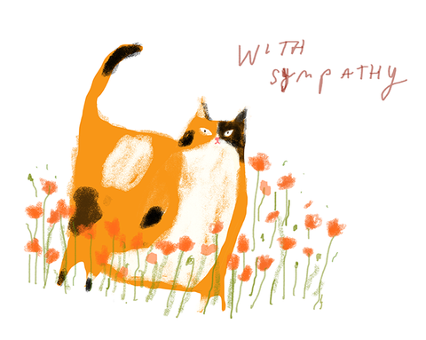 With Sympathy Cat Card - Poppy Cat
