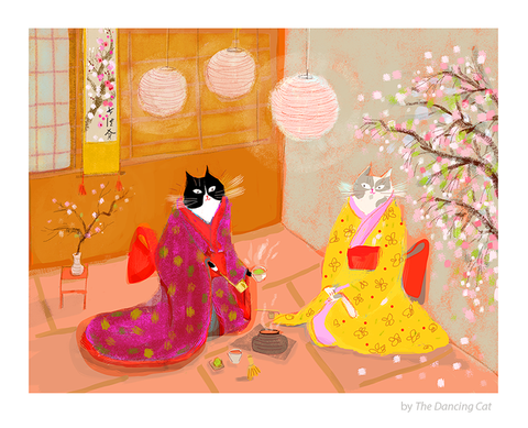Japanese Tea Ceremony Cats - Cat Painting - Fine Art Print - Matcha