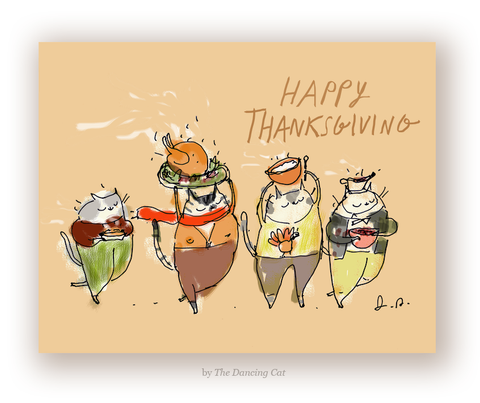 Happy Thanksgiving Cat Card