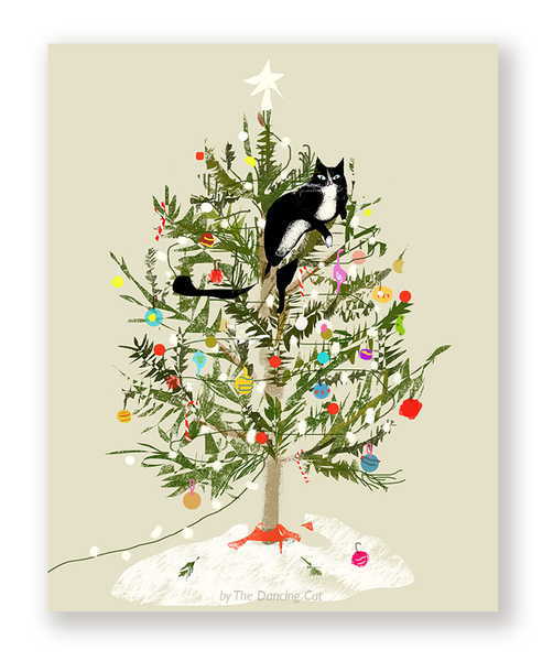 Christmas Tree Cat Card