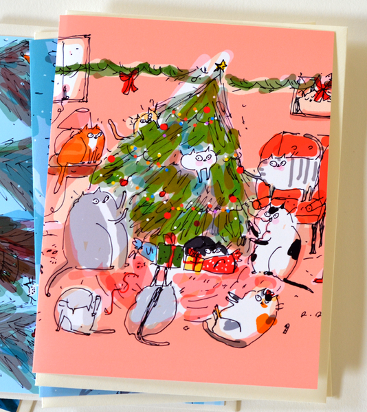 Classic Set - Christmas Cat Cards- Set of 5