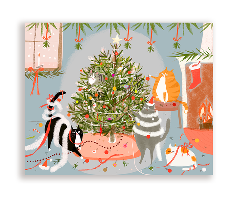 Season's Greetings- Tree Trimming Cats- Santa's Helpers Cat Card