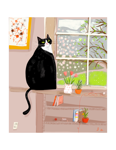 Spring Window Kitty - Cat Print
