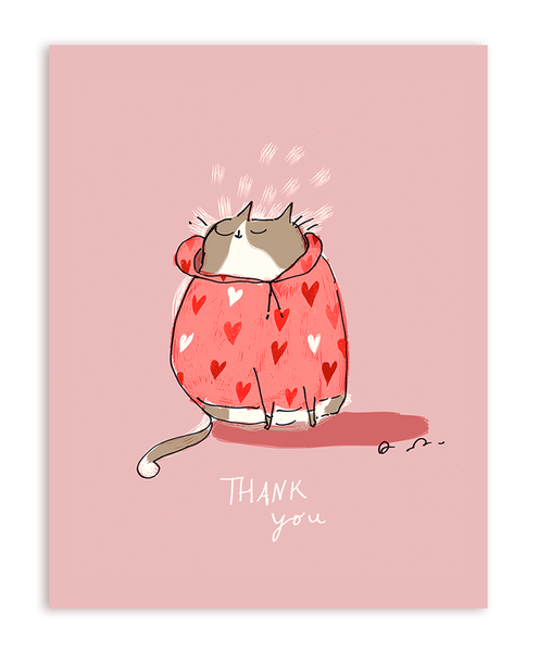 Thank You Heart Hoodie Card