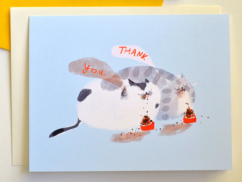 Thank You Cat Card - Cat Bowls