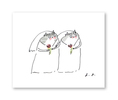 Wedding Cat Card- Bride & Bride