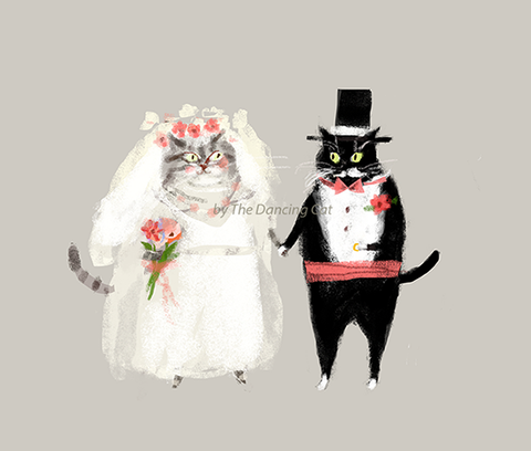 Wedding Cat Print - Bride & Groom