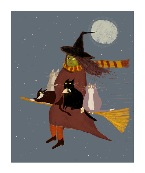Treat Run- Halloween Cat Print