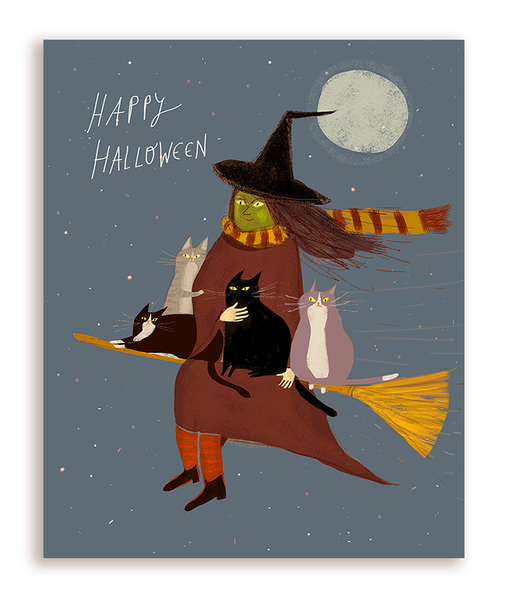 Treat Run - Halloween Card - Cat Lady