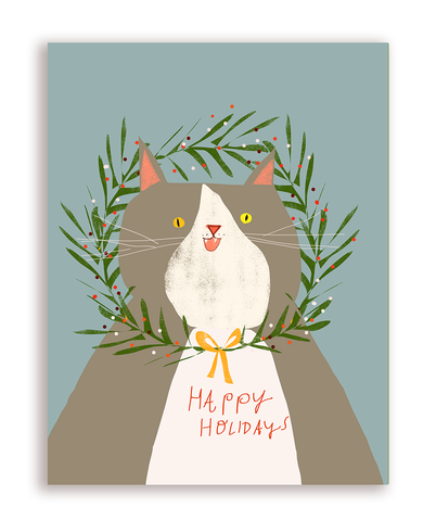 Happy Holidays- Wreath Cat Card