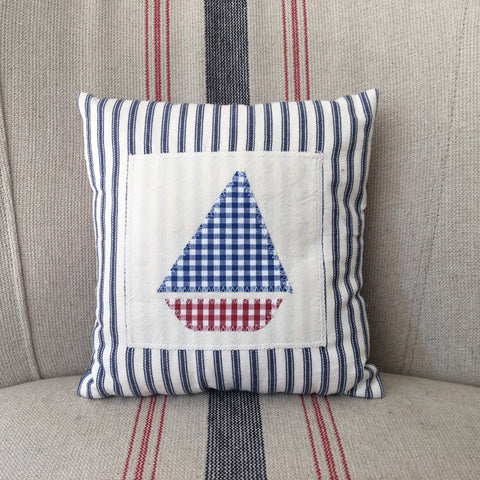 Small Applique Sailboat Cushion