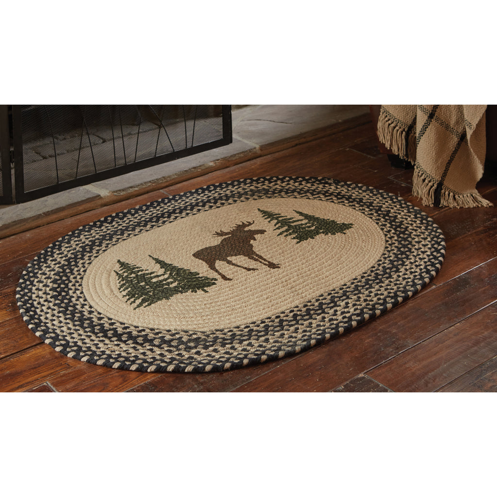 Moose and Trees Braided Rug