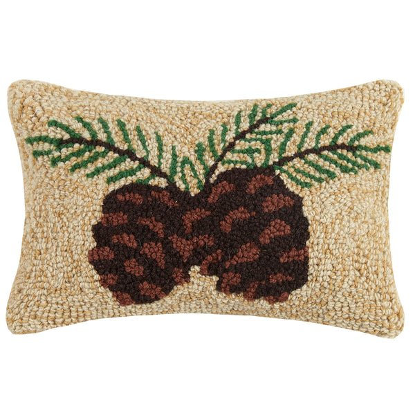 Hooked Pine Cones Cushion
