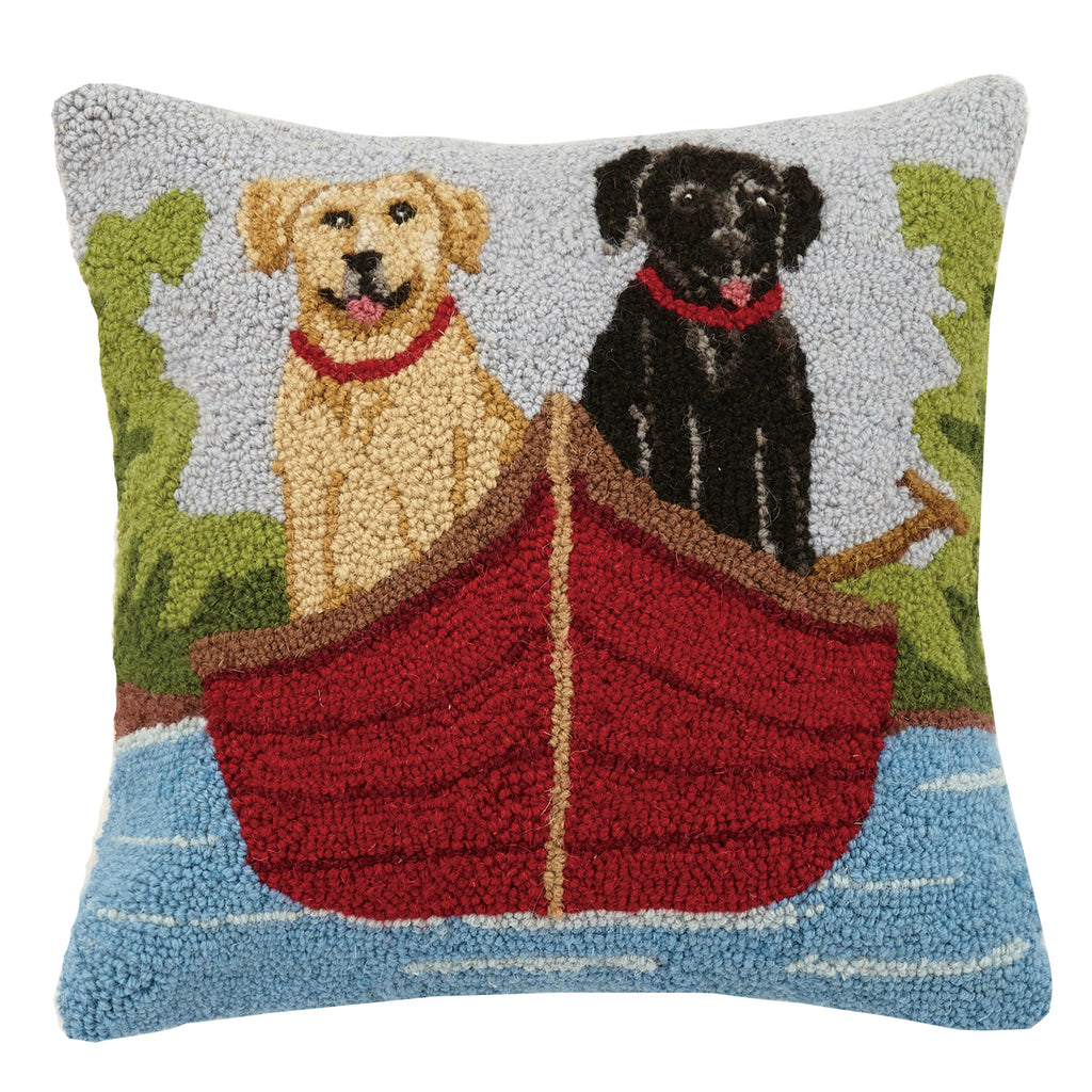 Dogs in Canoe Hooked Cushion