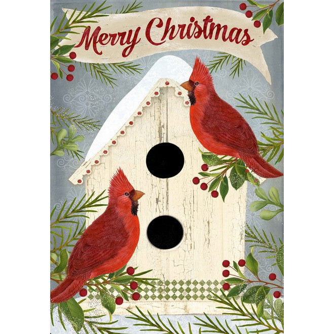 Merry Christmas Block Sign with Cardinals