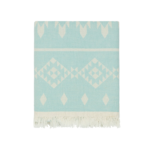 Minty Aqua Sedona Cotton Throw with Fleece Back