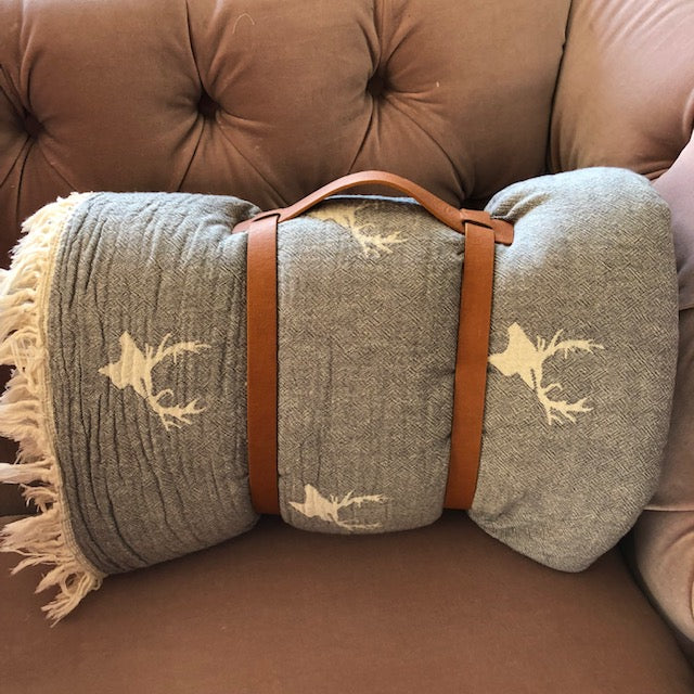 Grey Stag Throw with Carrier Straps