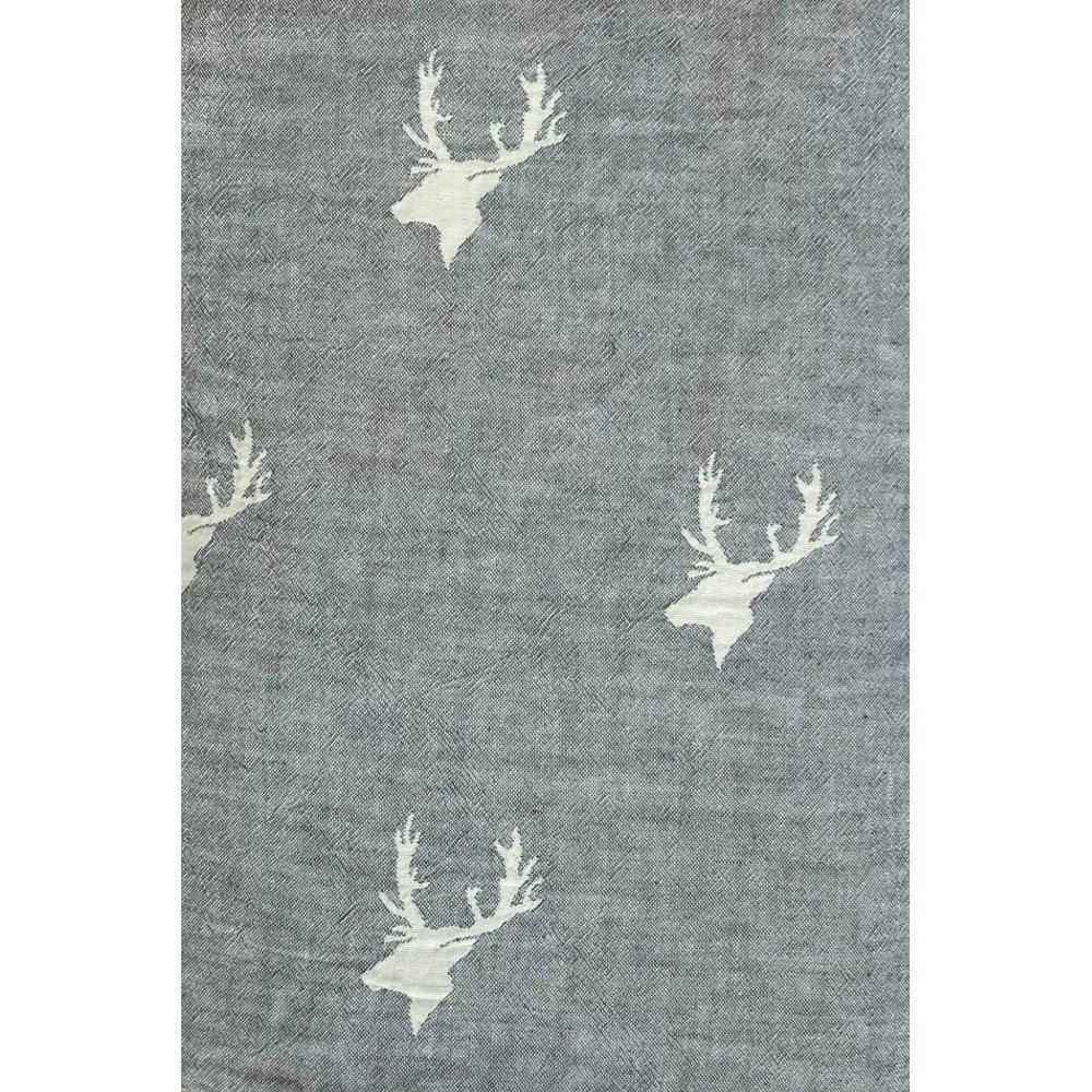 Grey Cotton Stag Throw with Soft Fleece Backing