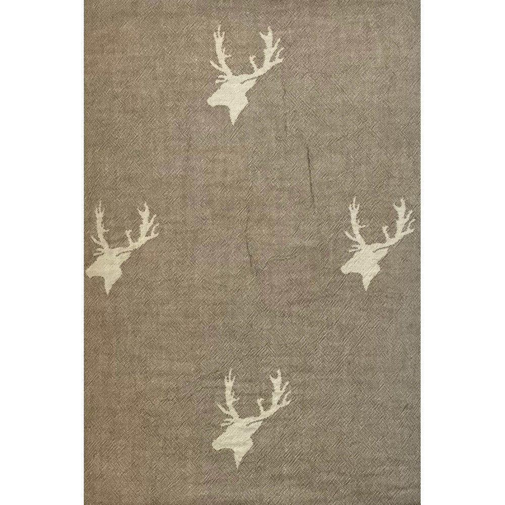 Taupe Stag Throw with Fleecy Backing