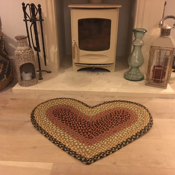 Burgundy Grey Cream Heart Shaped Rug