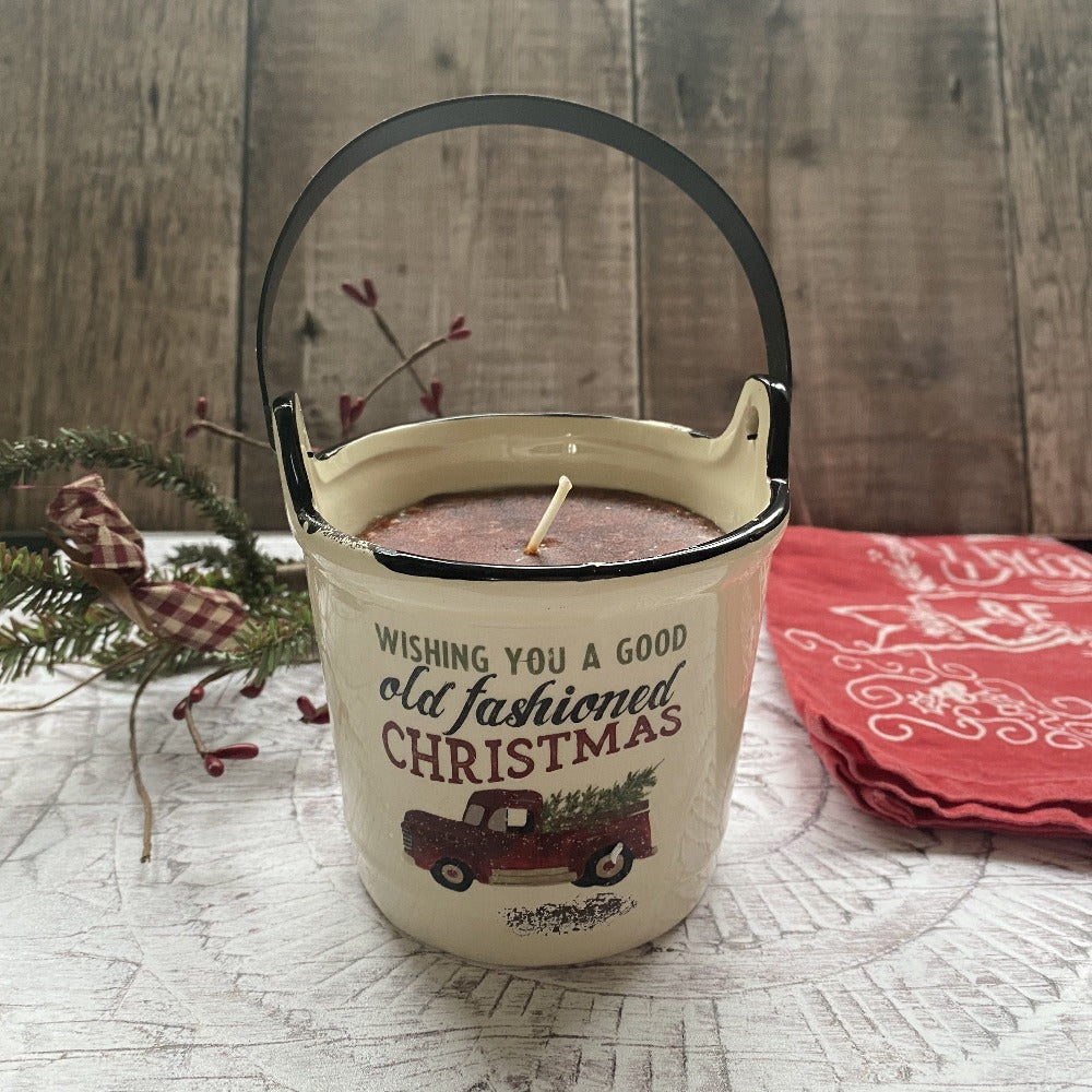 Buttered Maple Syrup Ceramic Bucket Candle