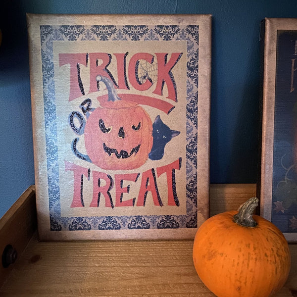 Trick or Treat Vintage Style Halloween Canvas