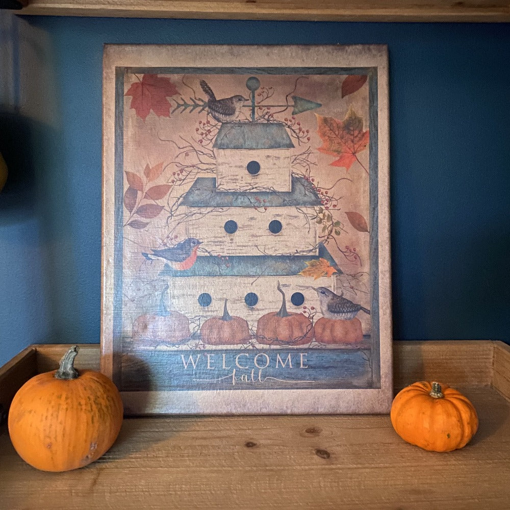 Welcome Fall Birdhouse Canvas Art