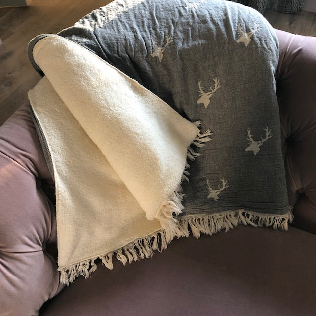 Grey Stag Throw with Fleece Backing