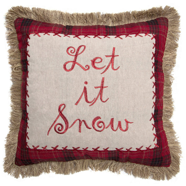 Let it Snow Cushion with Fringe