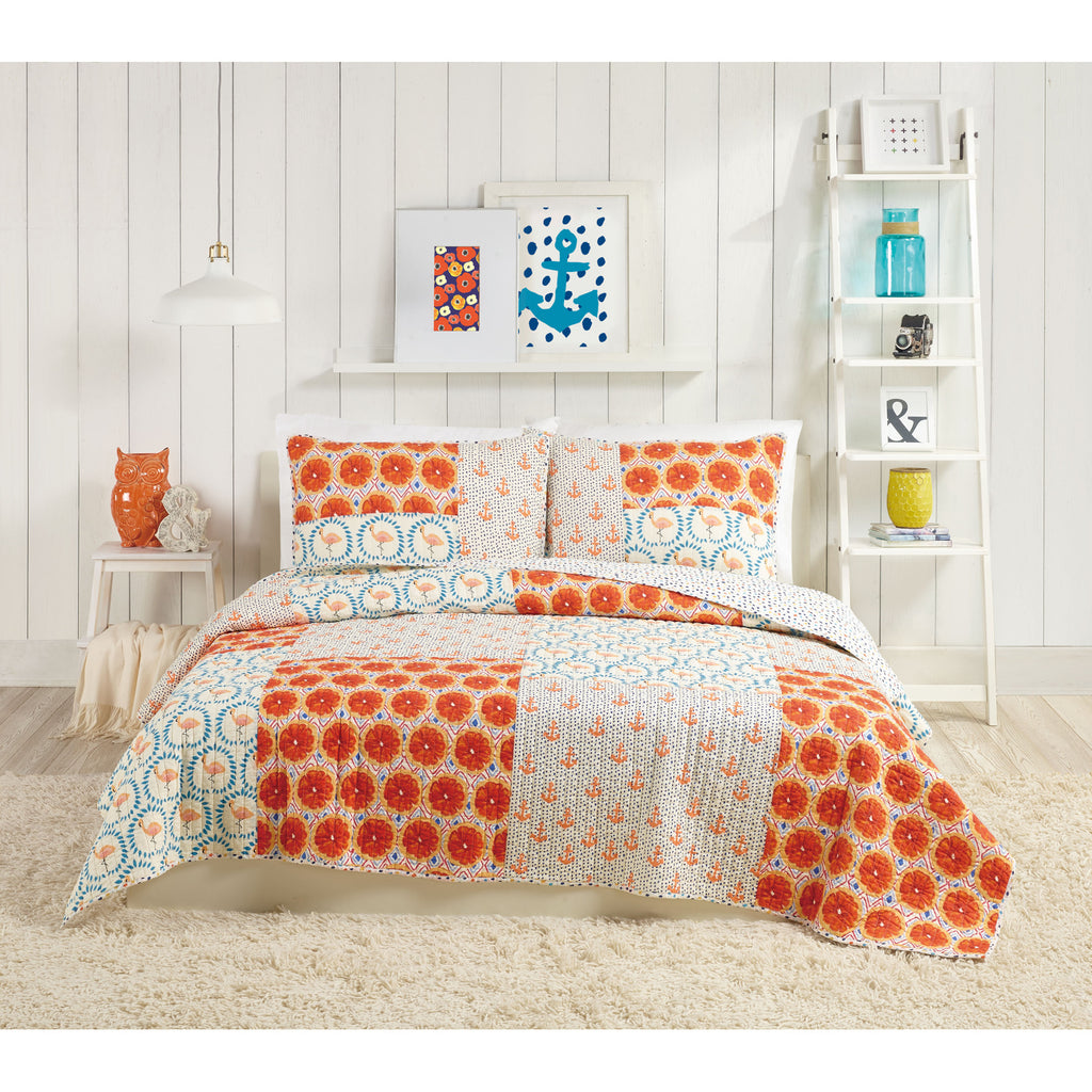 Flamingo Patchwork Quilt Set UK