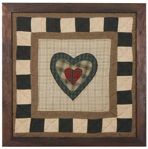 Folk Art Sampler Heart Framed Quilt Block