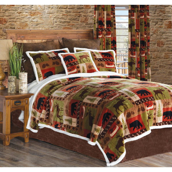 Patchwork Lodge Sherpa Bedspread Set