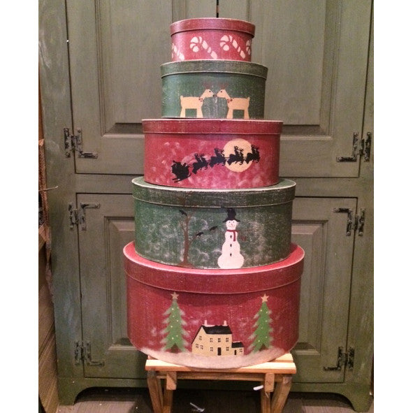 Saltbox Christmas Set of 5 Shaker Boxes