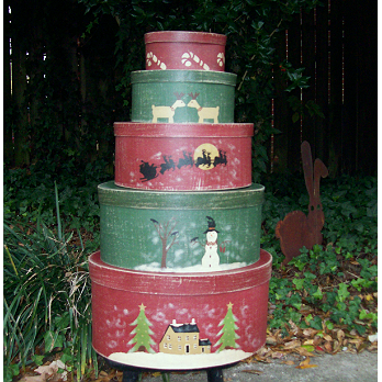 Saltbox Christmas Set of 5 Painted Shaker Boxes