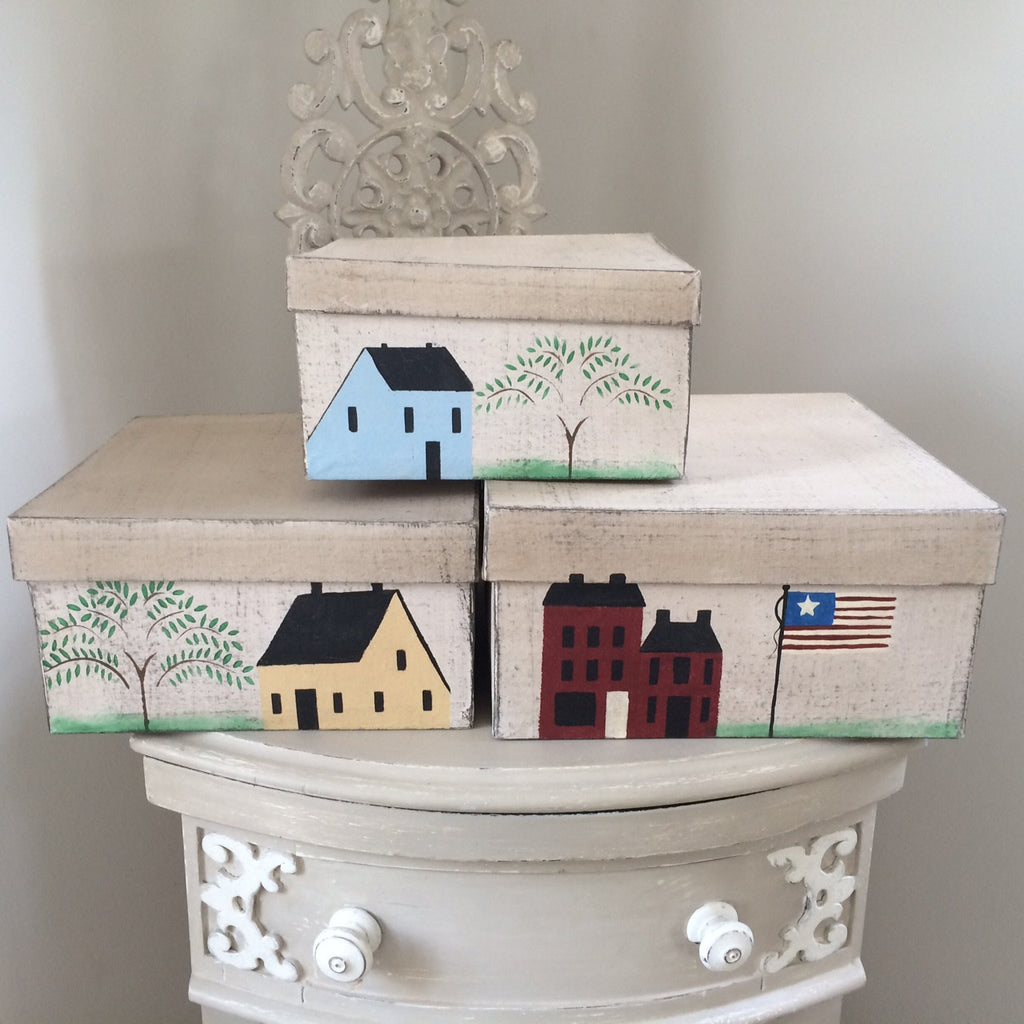 Saltbox House and American Flag Box Set