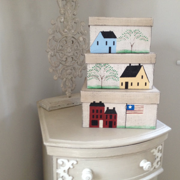 Saltbox Houses Set of 3 Shaker Style Boxes