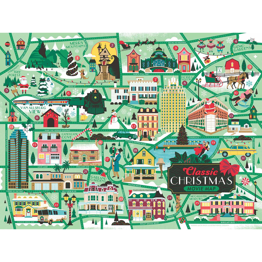 Classic Christmas Movie Map Jigsaw Puzzle UK