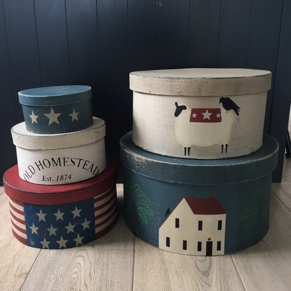 Americana Sheep Homestead Painted Shaker Boxes
