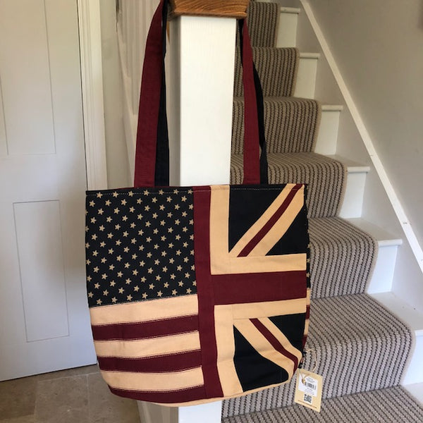 Union Jack and American Flag Tote Bag