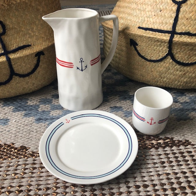 Stoneware Red White and Blue Anchor Collection